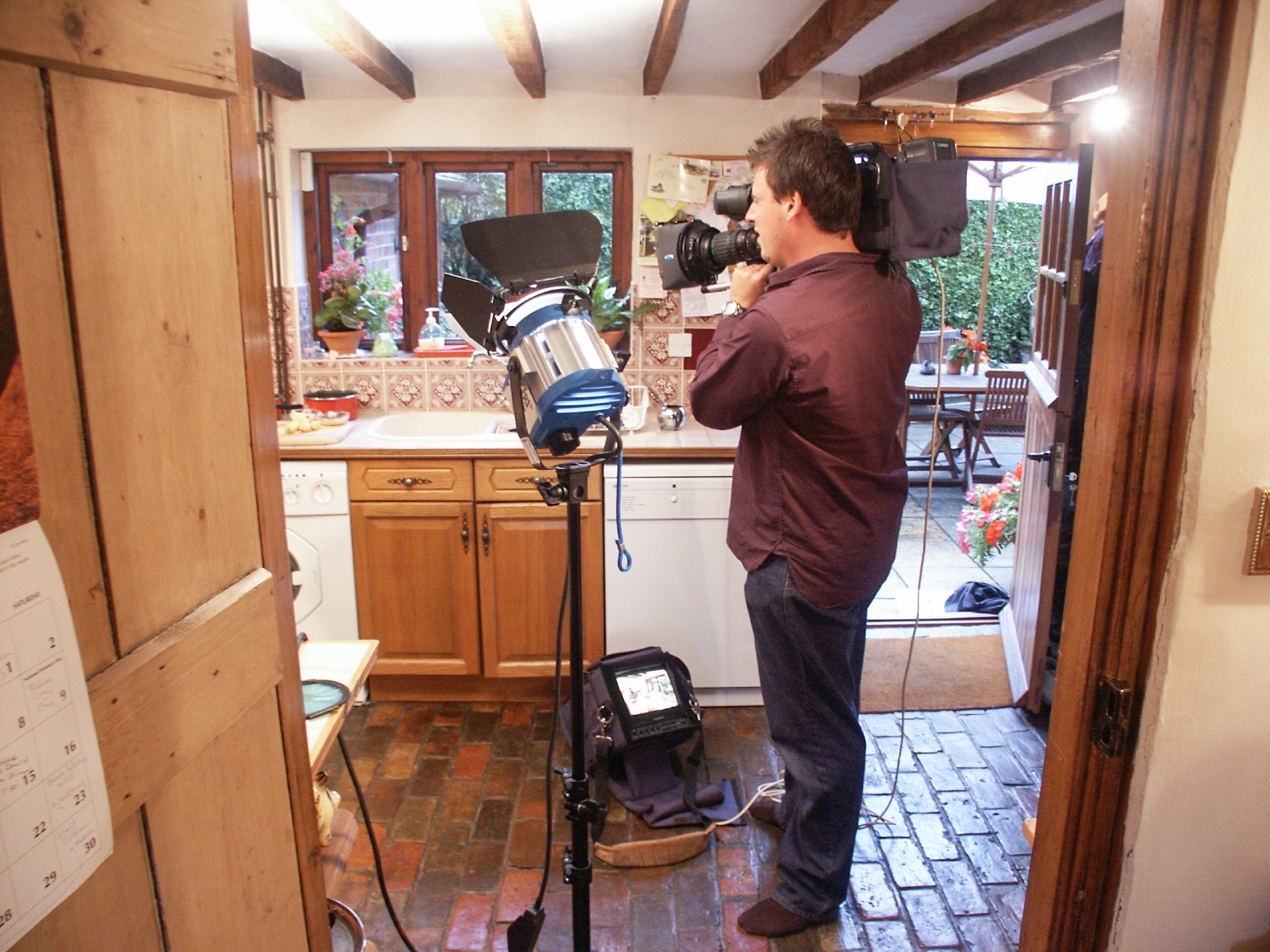 Filming BBC TV Inside Out, inside the cottage