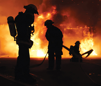 fire fighters in action