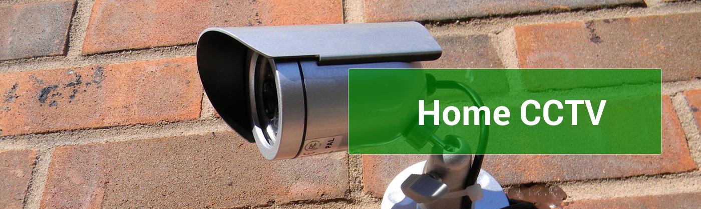 home cctv camera on outside wall